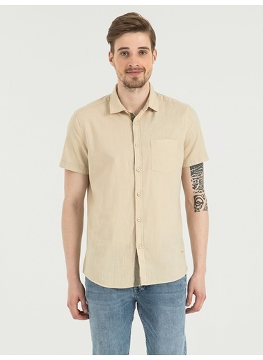 Loft Kısa Kollu Gömlek Taş